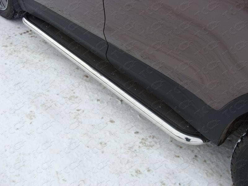 Пороги с площадкой (нерж. лист) 60,3 мм для Hyundai Grand Santa Fe (2014-2016) № HYUNSFGR14-09