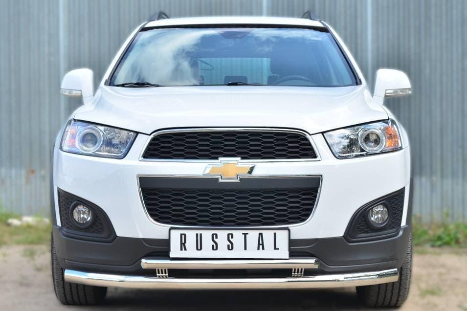 Защита переднего бампера d63 (секции) d42 (дуга) декор-паз Chevrolet Captiva (2013-2018) № CAPZ-001742