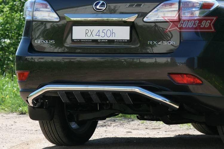 Защита заднего бампера d 60 с элементами из профильной трубы Lexus RX 350 (2009-2012) № LXRX.75.0817