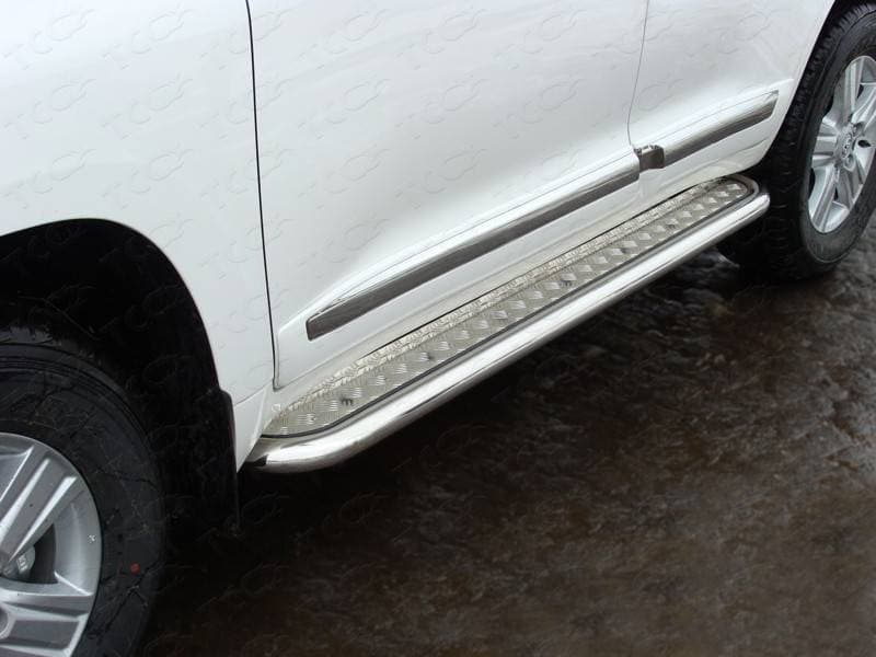 Пороги с площадкой 60,3 мм для Toyota Land Cruiser 200 (2015-2018) № TOYLC20015-08