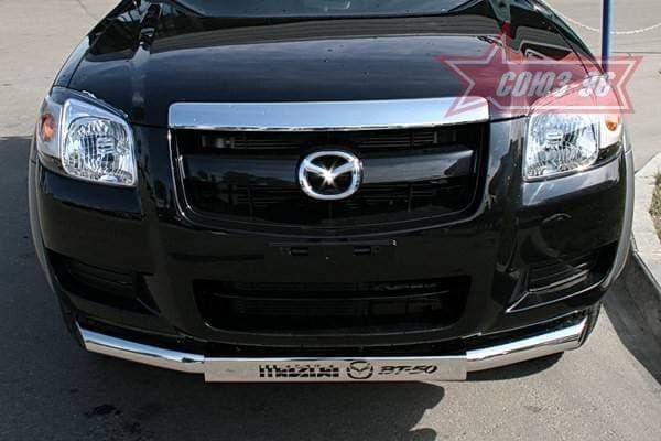 Защита переднего бампера d76 (труба) с накладкой для Mazda BT-50 (2007-2012) № MABT.48.0466