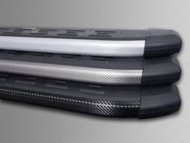 Пороги алюминиевые с пластиковой накладкой (карбон серебро) 1720 мм Chevrolet Captiva (2013-2018) № CHEVCAP13-07SL