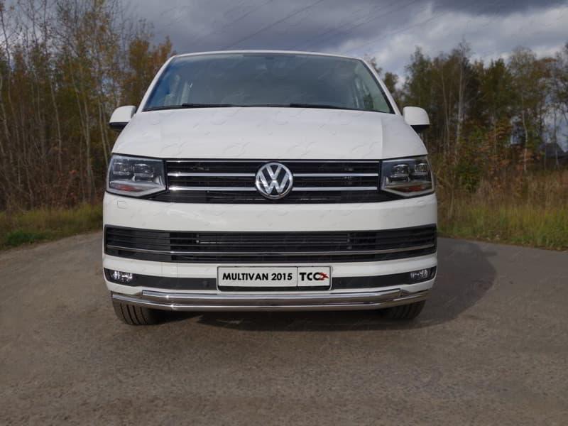 Защита передняя нижняя (двойная) 42,4/42,4 мм для Volkswagen Multivan (2015-2018) № VWMULT15-01