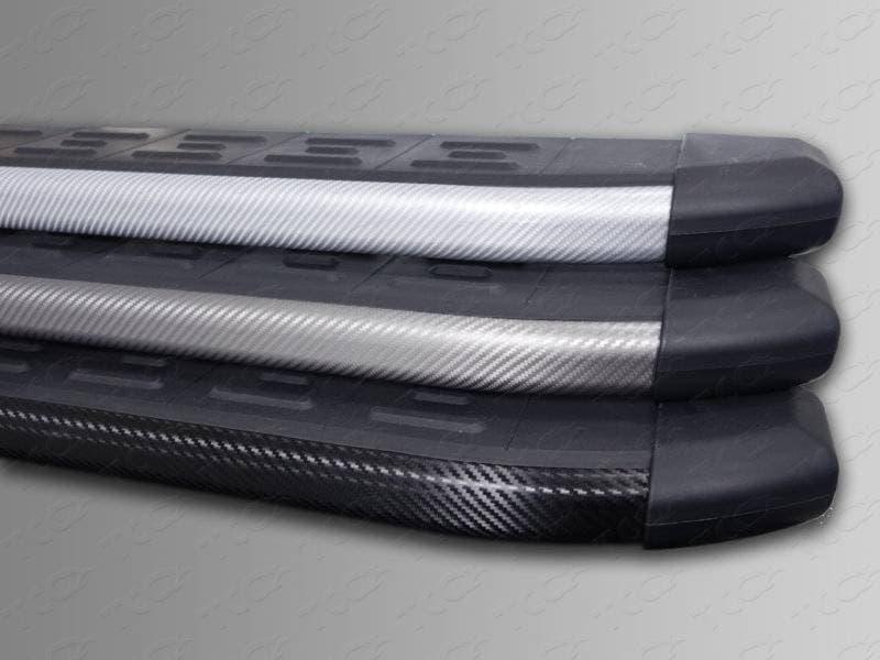 Пороги алюминиевые с пластиковой накладкой (карбон серые) 1820 мм Ford Egde (2014-2018) № FOREDG14-14GR