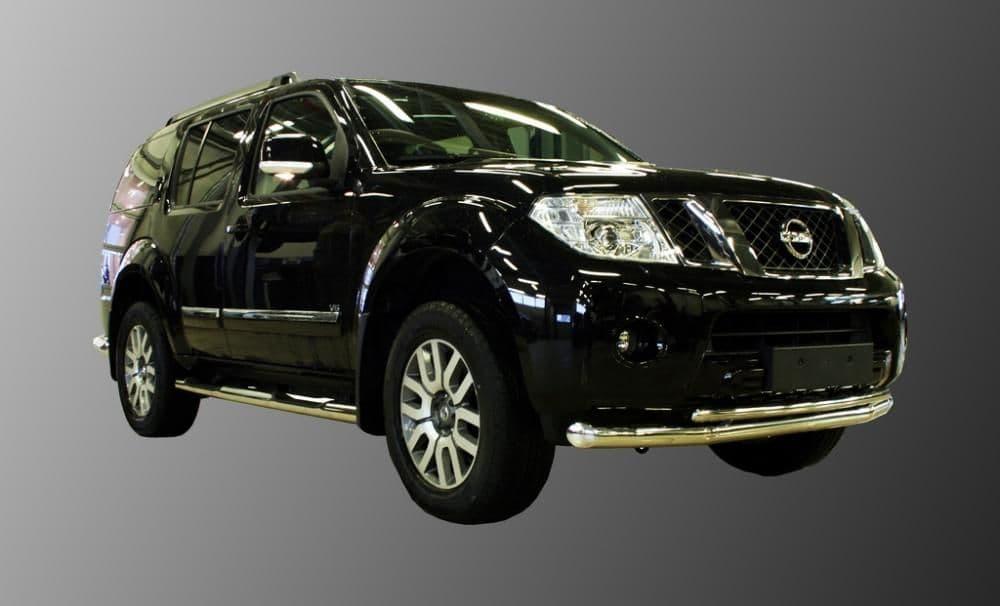Защита переднего бампера d76/42 двойная для Nissan Pathfinder (2010-2014) № NPTF.48.0153