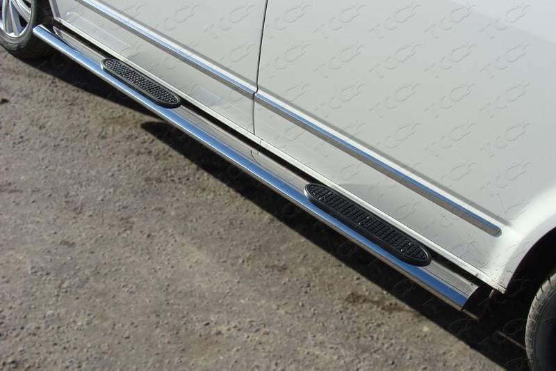 Пороги овальные с накладкой 120х60 мм для Volkswagen Multivan (2013-2018) № VWMULT13-06