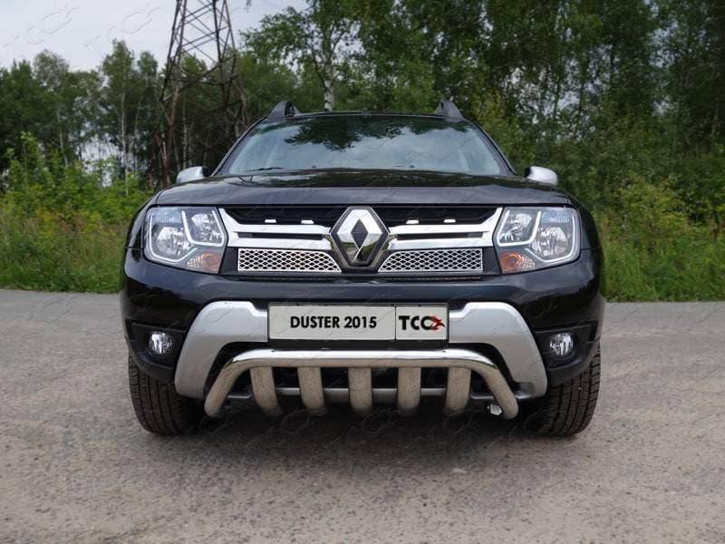 Защита передняя (кенгурин с вставкой) 60,3/75 мм для Renault Duster (2015-2018) № RENDUST15-02