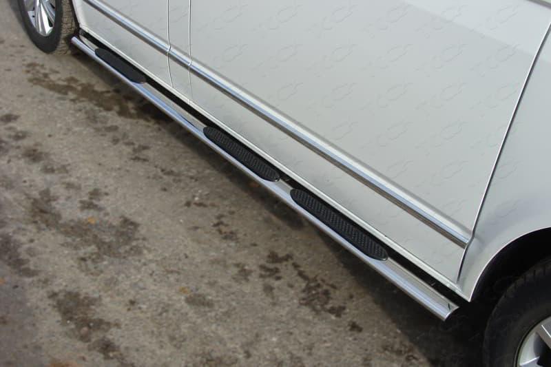 Пороги овальные с накладкой 75х42 мм Volkswagen Multivan (T6) (2015-2018) № VWMULT15-07