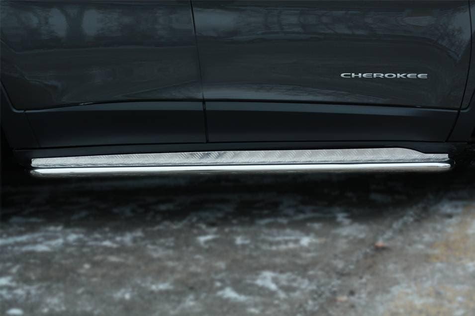 Пороги труба d42 с листом Jeep Cherokee (2014-2018) № JCL-001989