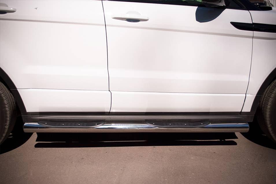 Пороги труба d76 с накладками (вариант 3) Land Rover Range Rover Evoque Dynamic (2011-2018) № REDT-0006623