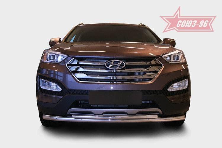 Защита переднего бампера труба d60/42 двойная для Hyundai Santa Fe (2013-2018) № HYSF.48.1617