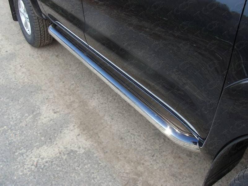 Пороги с площадкой (нерж. лист) 60,3 мм для Toyota Hilux (2010-2015) № TOYHILUX12-10