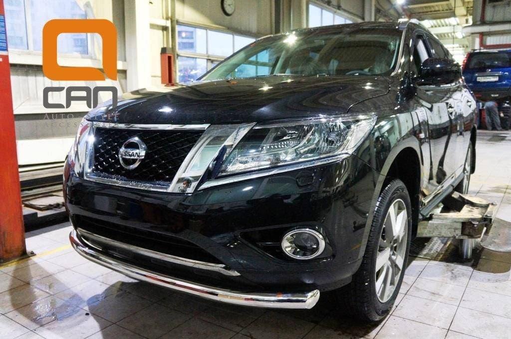 Защита переднего бампера Nissan Pathfinder (2014-2018) (одинарная) d 76
