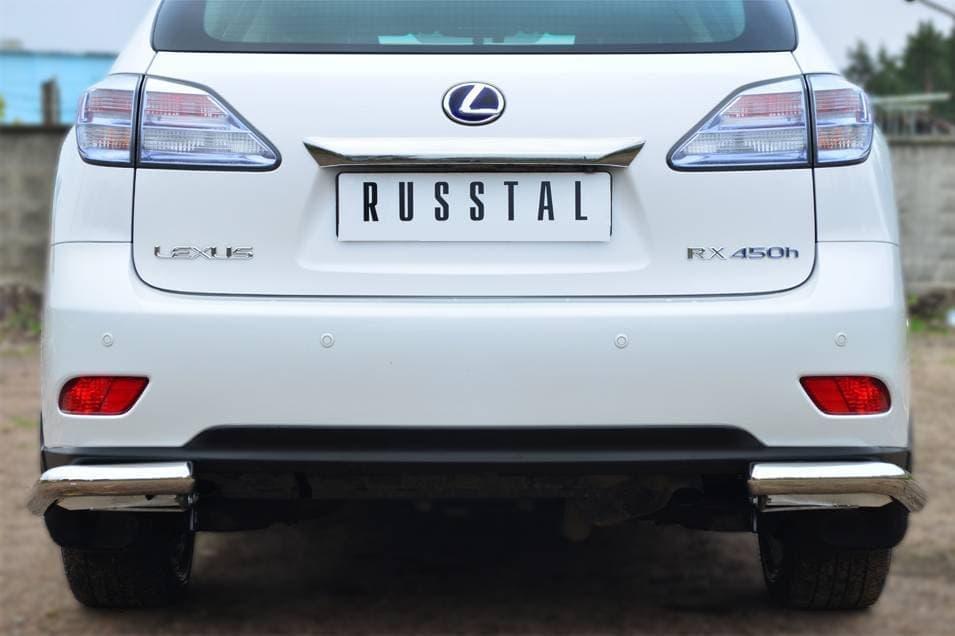 Защита заднего бампера уголки d63 Lexus RX270, RX350, RX450 (2009-2012) № LRXZ-000417