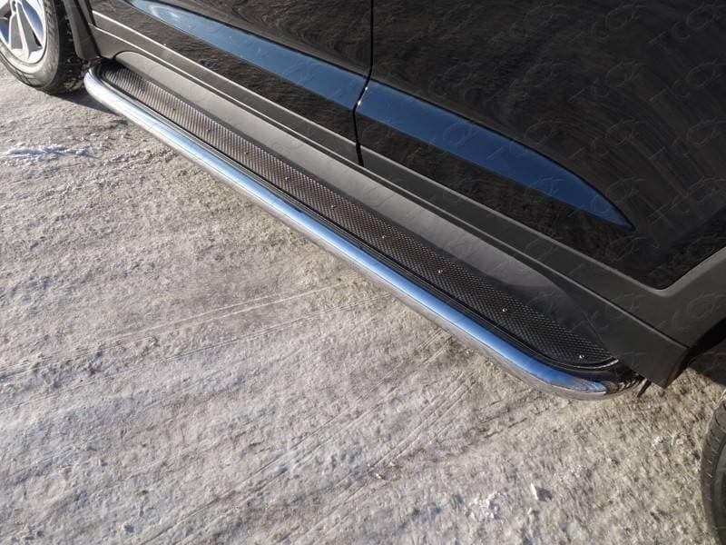 Пороги с площадкой (нержавеющий лист) 60,3 мм для Hyundai Tucson (2015-2018) № HYUNTUC15-07