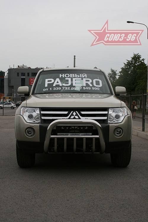 Решетка передняя мини d76 с нижней защитой для Mitsubishi Pajero 4 (2006-2018) № MIPJ.57.0471