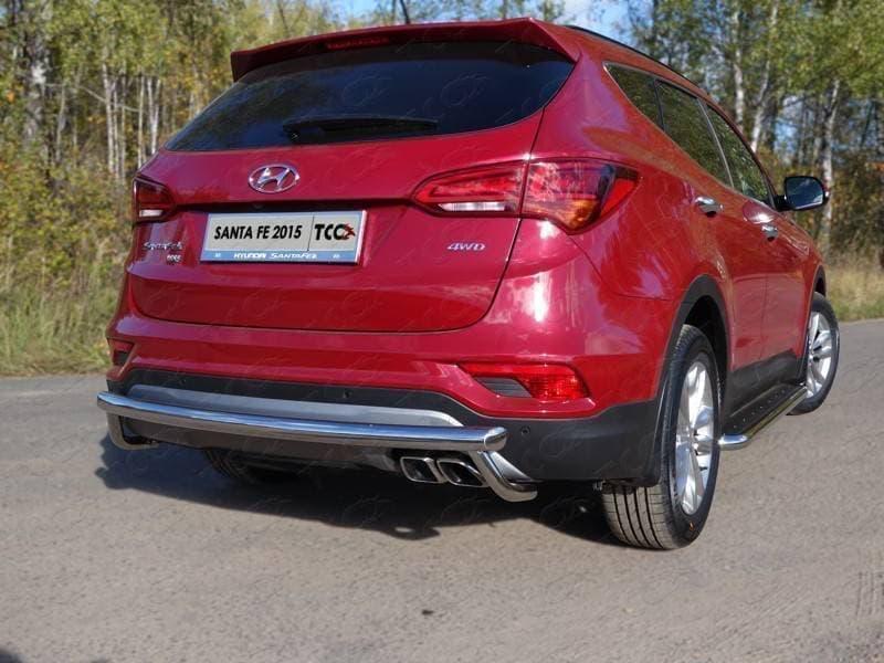 Защита задняя (центральная) 60,3/42,4 мм для Hyundai Santa Fe Premium (2015-2018) № HYUNSF4WD15-18