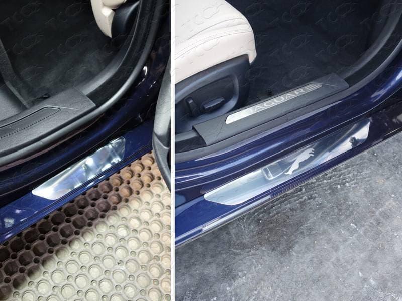 Накладки на внутренние пороги (лист зеркальный Jaguar) Jaguar XE (2015-2018) № JAGXE15-03