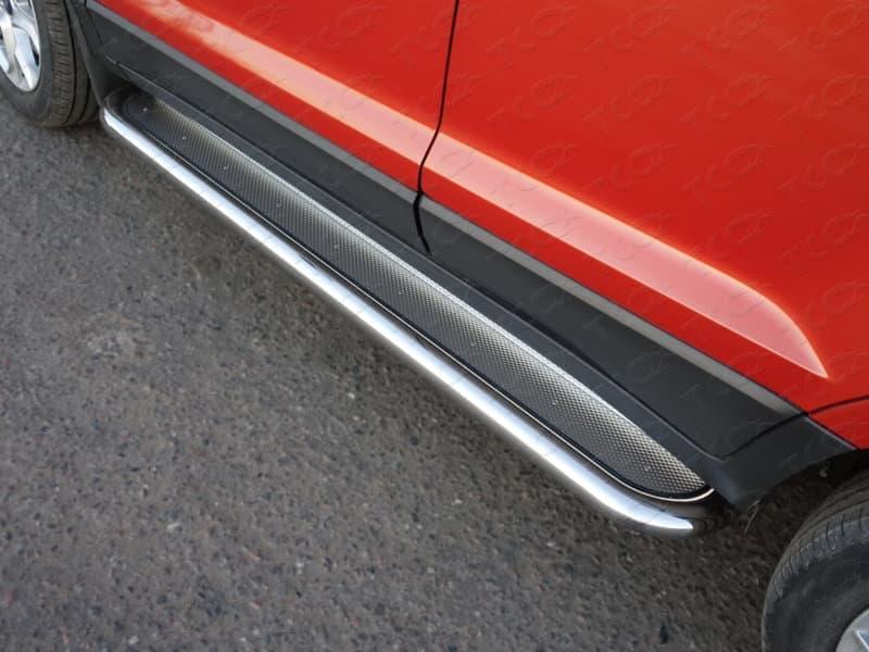 Пороги с площадкой (нерж. лист) 60,3 мм Ford EcoSport (2014-2018) № FORECOSPOR14-11